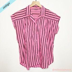 [Vintage] Pink Black Striped Spread Collar Blouse